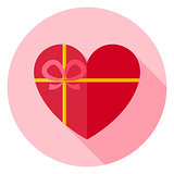 Valentine Day Heart Shaped Gift with Bow Circle Icon