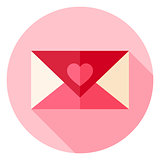 Valentine Day Love Envelope with Heart Circle Icon