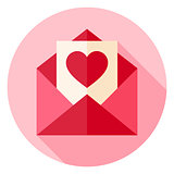 Valentine Day Love Postcard with Envelope Circle Icon