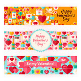 Valentine Day Template Banners Set in Modern Flat Style
