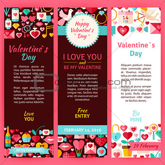 Valentine Day Vector Party Invitation Template Flyer Set