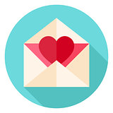 Valentine Envelope with Heart Circle Icon