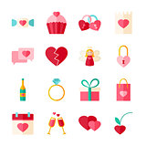 Valentines Day Flat Objects Set isolated over White