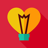 Vector Flat Design Heart Shaped Light Bulb Icon