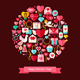 Vector Flat Style Happy Valentine Day Objects Concept