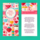 Vector Flyer Template of Happy Valentine Day Objects and Element