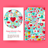 Vector Happy Valentine Day Banners Set Template