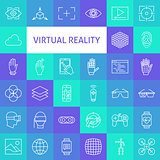 Vector Line Art Virtual Reality Icons Set