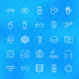 Virtual Reality Line Icons Set over Polygonal Background