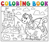 Coloring book dragon near castle theme 1
