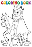 Coloring book king on horse theme 1