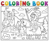Coloring book knight on horse by castle