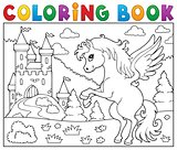 Coloring book pegasus near castle