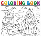 Coloring book princess near castle