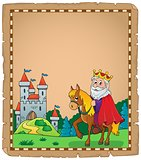 Parchment with king on horse theme 2