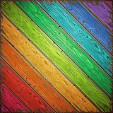 Rainbow Old Wooden Painted Wall