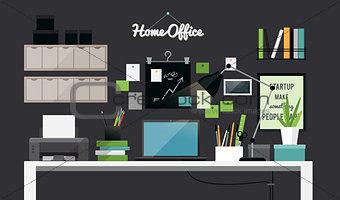 Flat illustration of dark home office workspace interior