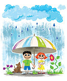 rainy day kids with pets hiding under umbrella wallpaper postcard