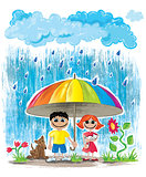 rainy weather children with umbrella wallpaper