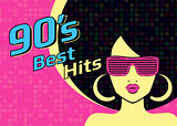 Best hits of 90s illistration with disco woman wearing glasses and on pink background