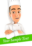 3d head chef with sample text