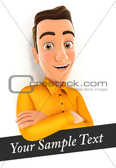 3d man with sample text