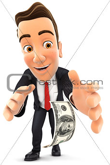 3d businessman bending down to pick up dollar bill