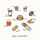 Set of junk food contour icons burger with hotdog