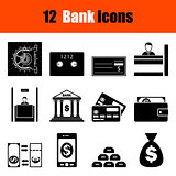 Set of twelve bank icons