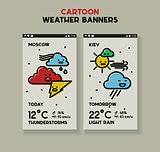 Weather cartoon line banners