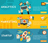 Flat concept banners. Marketing, Analytics, Startup Launch