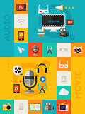 Vertical Vector Audio and Video Concept Banner