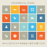 Commercial icons. Multicolored square flat buttons