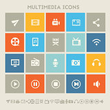 Multimedia icons. Multicolored square flat buttons