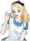 Comic stile Alice Takes Tea Cup