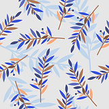 floral seamless pattern with branches for textile print