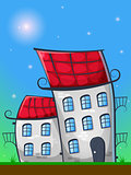 cartoon landscape with houses in german style, grass, and sun