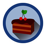 modern flat icon with slice of chocolate cake, cherrry and shadow