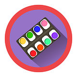 modern flat icon with watercolor set and shadow