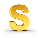 The letter S as a polished golden object with clipping path
