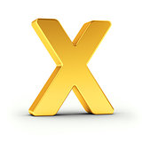 The letter X as a polished golden object with clipping path