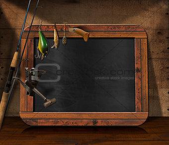 Fishing Tackle with Empty Blackboard