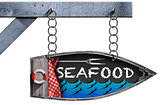Seafood - Boat Directional Sign with Chain
