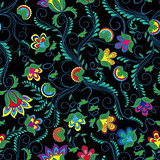 Seamless pattern with bright flowers over black