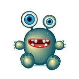 Green Monster with big eyes and red mouth. Vector cartoon funny germ, green bacteria, cute monster