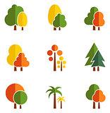 tree set on flat design style