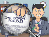 2016 Economic Forecast through Magnifying Glass. Doodle Style.