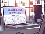 Laptop Screen with Communities and Networks Concept.