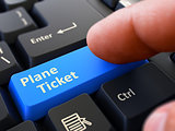 Finger Presses Blue Keyboard Button Plane Ticket.