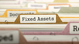 Fixed Assets Concept on File Label.